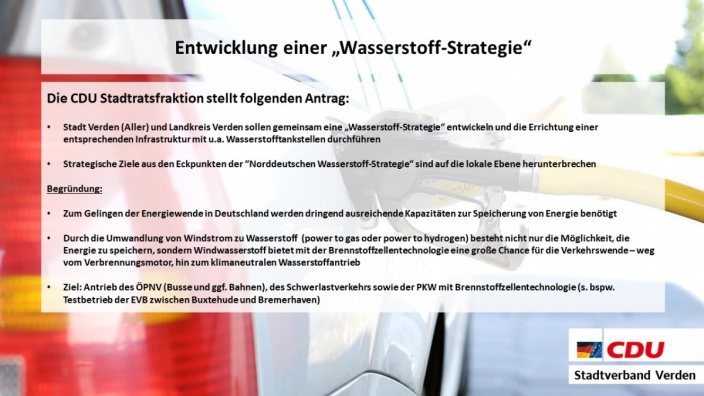 """Entwicklung einer """"Wasserstoff-Strategie"""""""