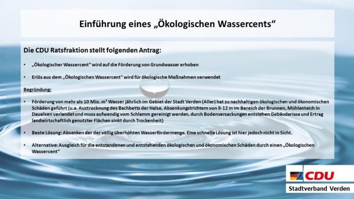 Einführung eines ökologischen Wassercents